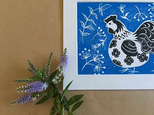 Mother Hen... Original Open Edition Handcrafted Mounted Print