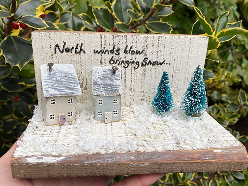 Little Wooden Houses Christmas Scene