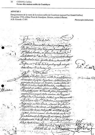 """Acte de vente """"Maison Noble de Couteleyre"""", 19/10/1759"""
