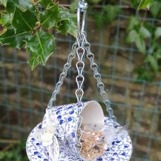 Blue floral cup & saucer bird feeder