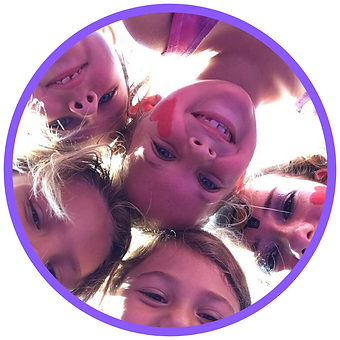 gymnasts, happy, children, group, face paint