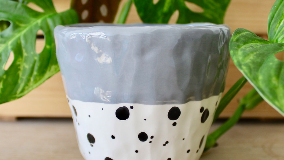 Grey Dotty Ceramic Pot