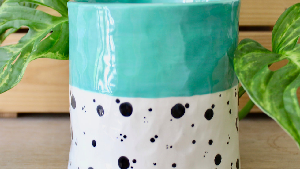 Mint Dotty Ceramic Pot