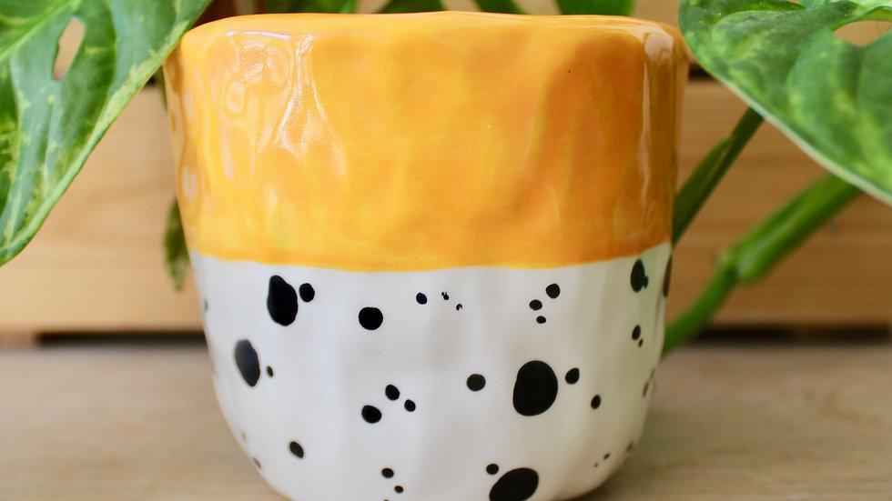 Yellow Dotty Ceramic Pinch Pot