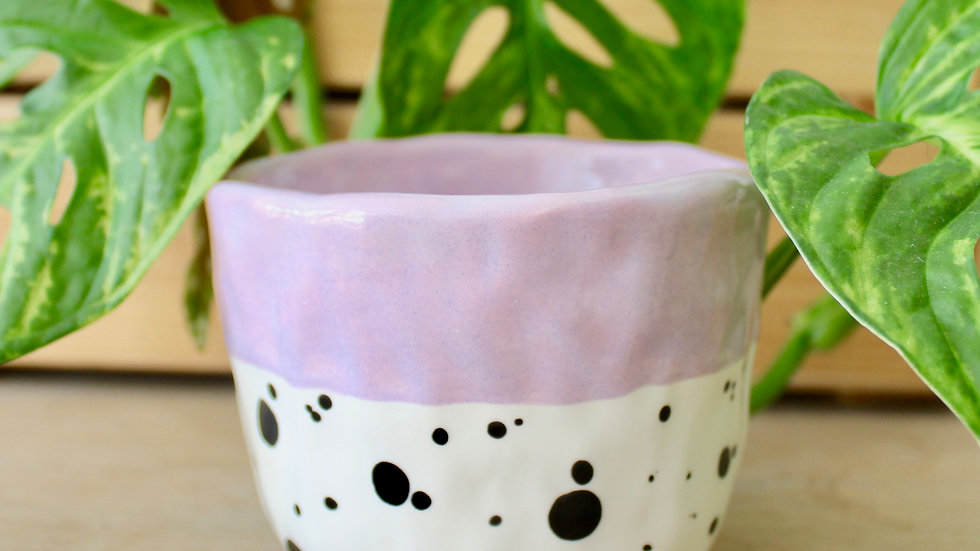 Lilac Dotty Ceramic Pinch Pot