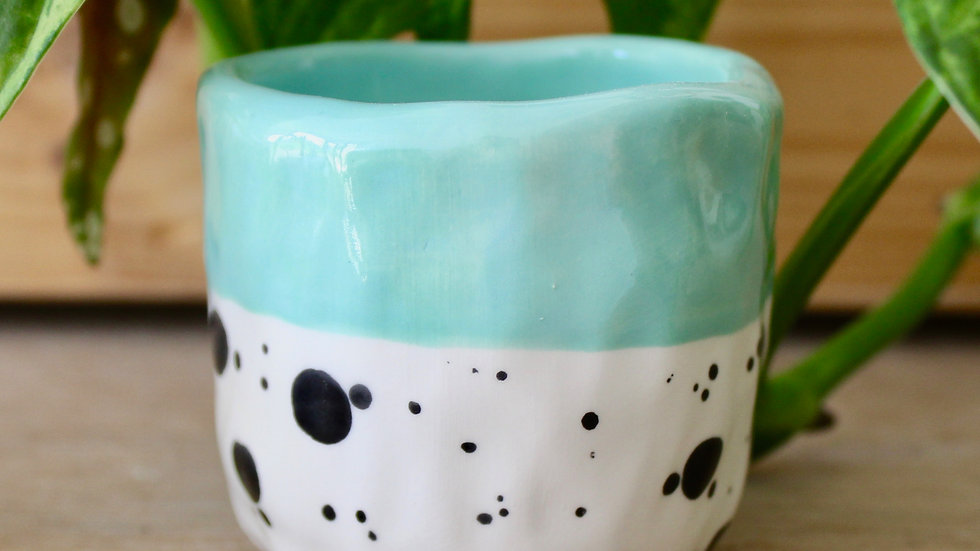 Light Mint Dotty Ceramic Pot