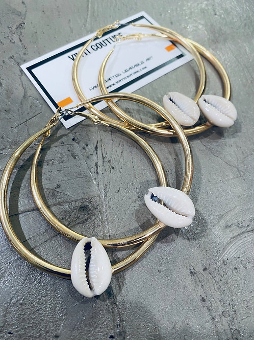 GOLD COWRIE HOOPS