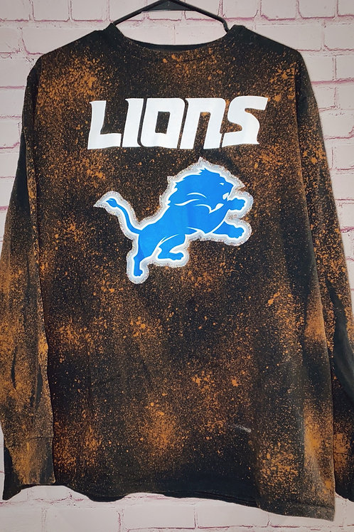 Long Sleeve Detroit Lions BleachedTee