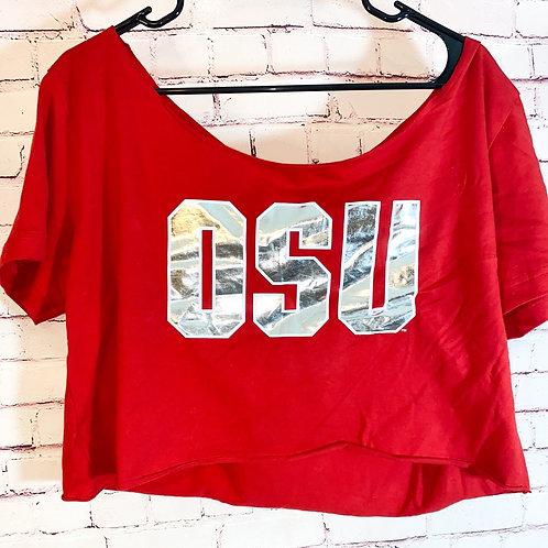 OSU off the shoulder crop top