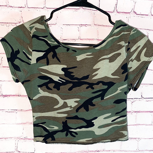Camo Criss Cross Back Crop Top