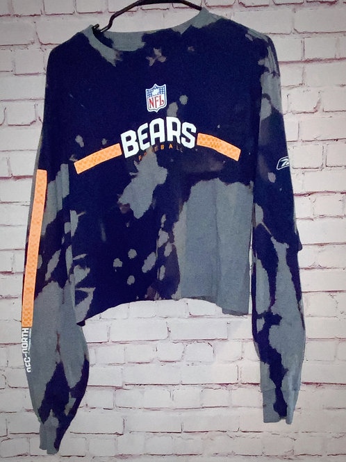 Chicago Bears Bleached Long Sleeve Cropped Tee