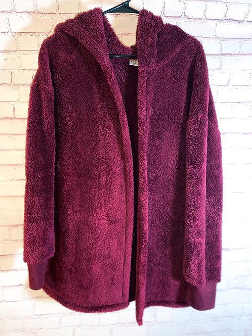 Fuzzy Burgandy Jacket