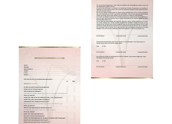 Einverständniserklärung Wimpernverlängerung – 50 Blatt