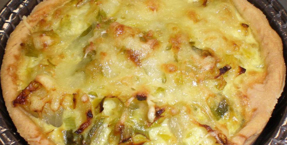 Tarte salée : poireaux, oignons, fromage de chèvre