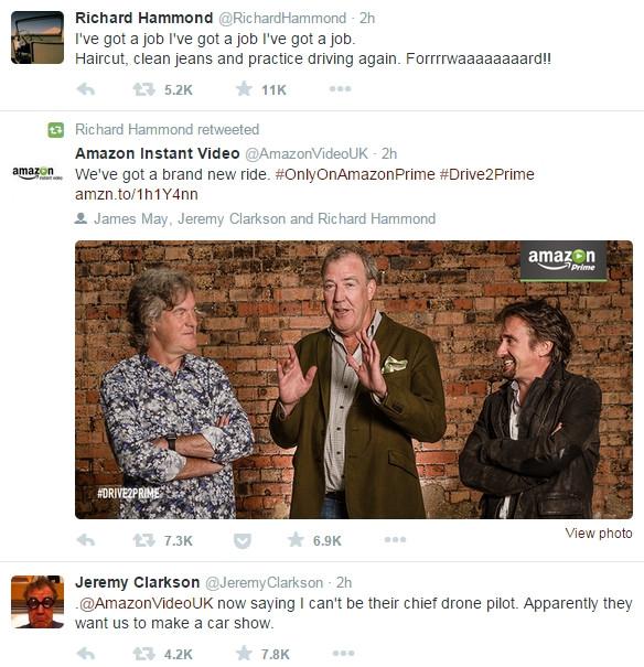 Clarkson a Hammond mají na Twitteru radost