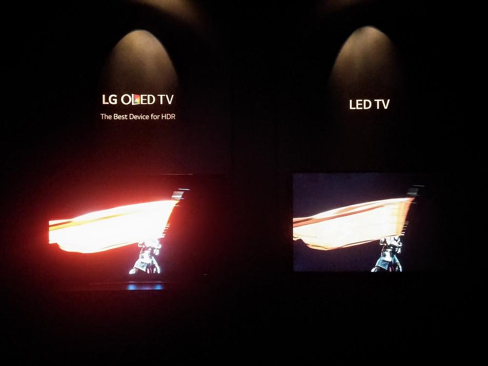 IFA2015: OLED vs LED. Jasový opar na OLED způsobem fotoaparátem. U LED si všimněte nekvalitní černé.