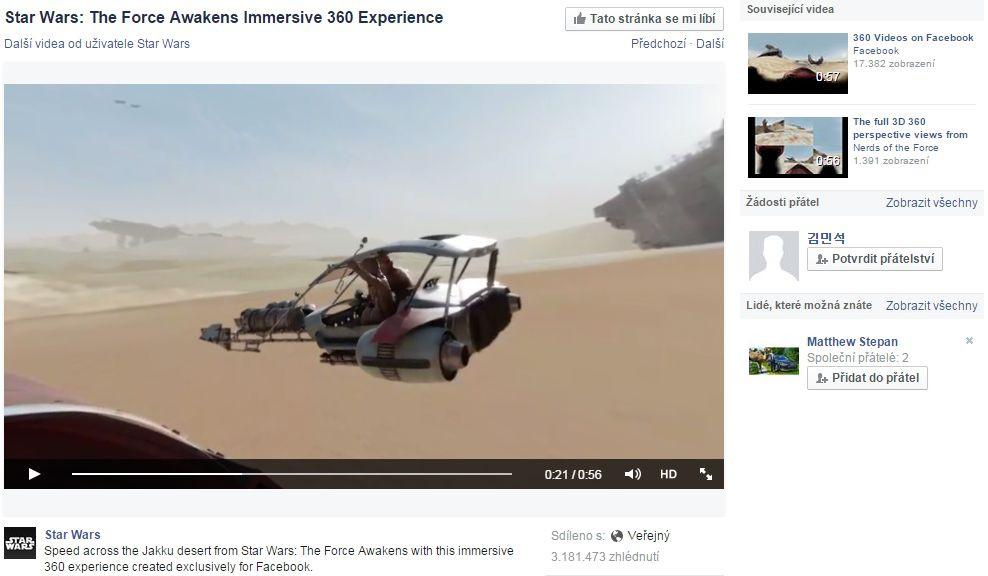 Star Wars 360° video na Facebooku