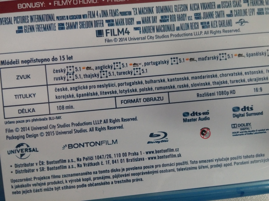 Ex Machina (CZ Blu-ray specs)