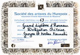 2009  Diplome d'Honneur 63eme Salon d'Hurepoix