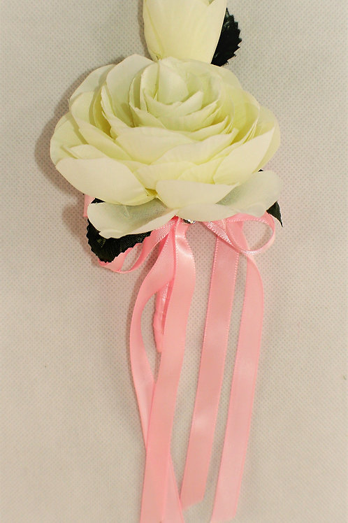 GRADUATE BOUTONNIERE - GENERAL THEME- WHITE & PINK