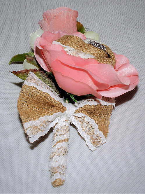 GROOM'S BOUTONNIERE - CORAL COUNTRY BURLAP