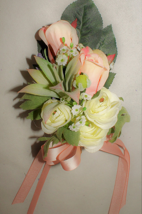 BRIDE'S PIN CORSAGE - RUSTIC COUNTRY BLUSH