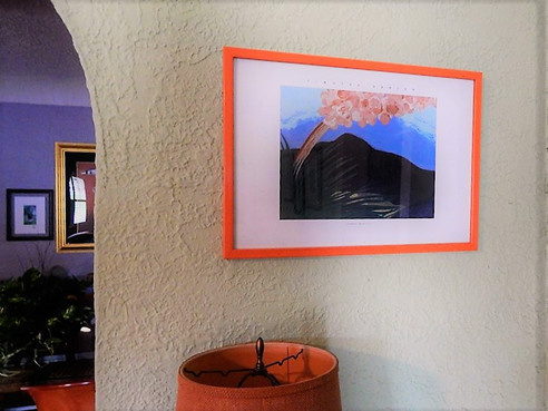Print on wall over lamp & credenza/end-table