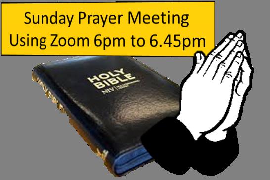 Sunday evening prayers on Zoom