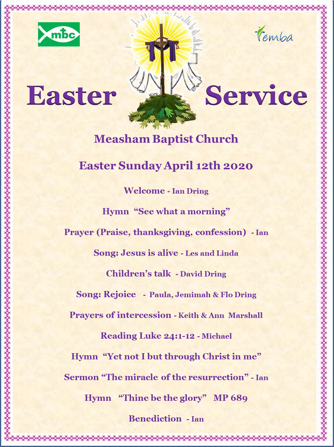 Online Service in time for Easter