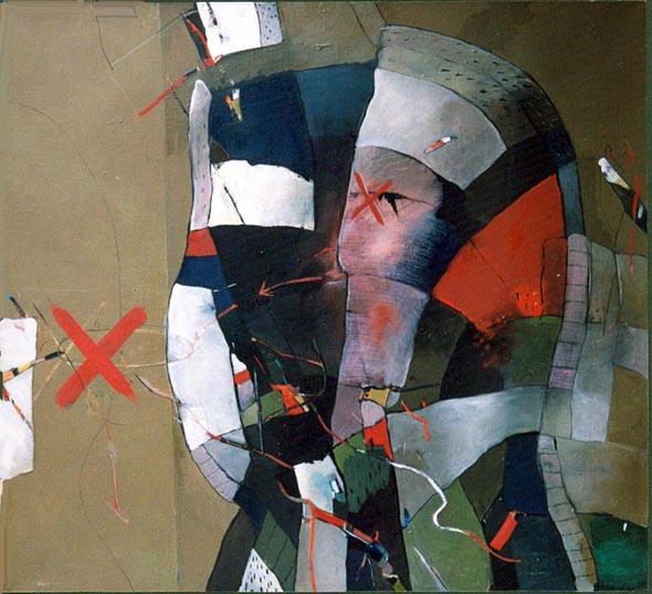 HLAVY V olej na plátně 135x135 1990