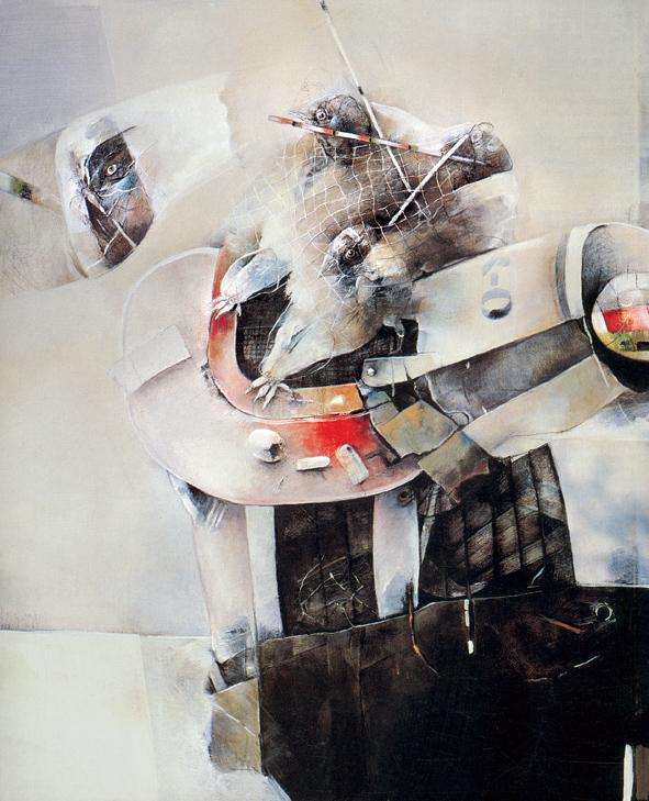 ÚLOVEK acryl na plátně 138x110 1987