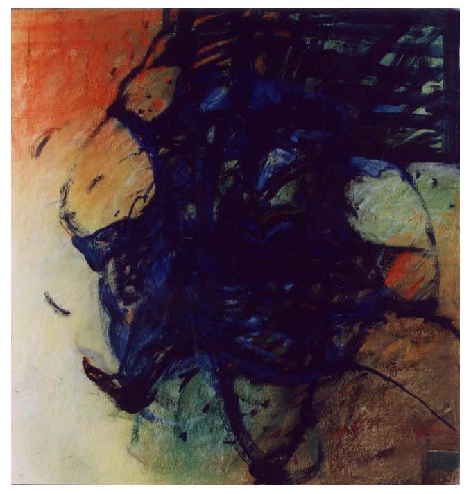 V POHYBU kresba olej a pastel na lepence 50x 55cm 1998