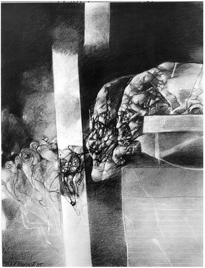 ROZHOVORY III kresba uhlem 60x80