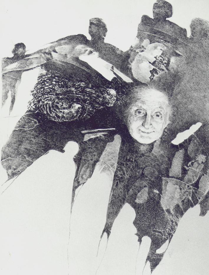 BABIČKA litografie 40x50cm 1982