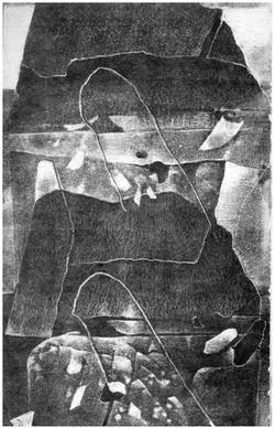 Z cyklu POLOČAS monotyp 21x30 1988