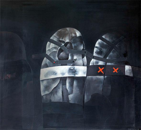 GOLÉMOVÉ II akryl na plátně 115x120cm 1988