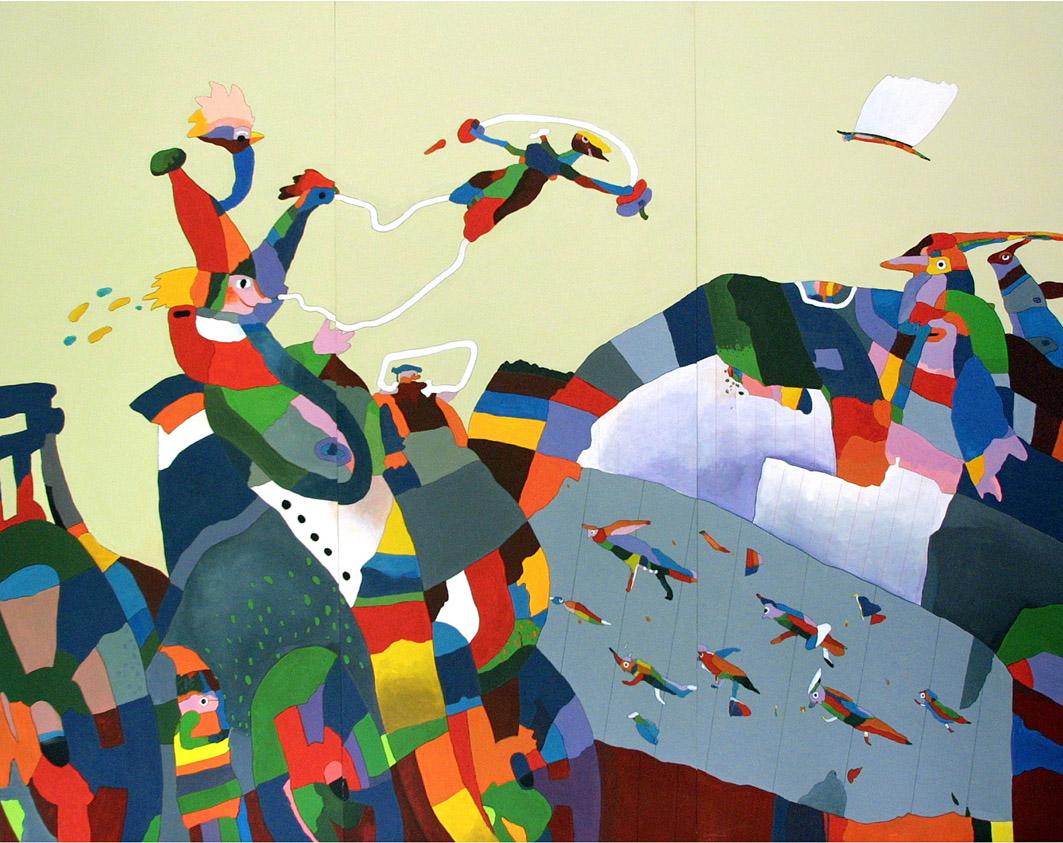 ŠAŠEK malba acrylem na dřevotřísku panel 300x250cm