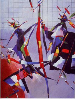 Cyklus HRY I kresba tempera na lepence1989