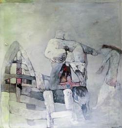 VYHNÁNÍ Z RÁJE olej na plátně 115x120cm 1994