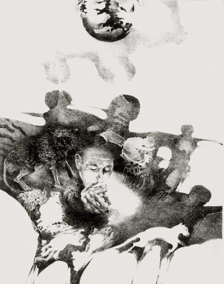ZÁVISLOST litografie 40x50cm 1982