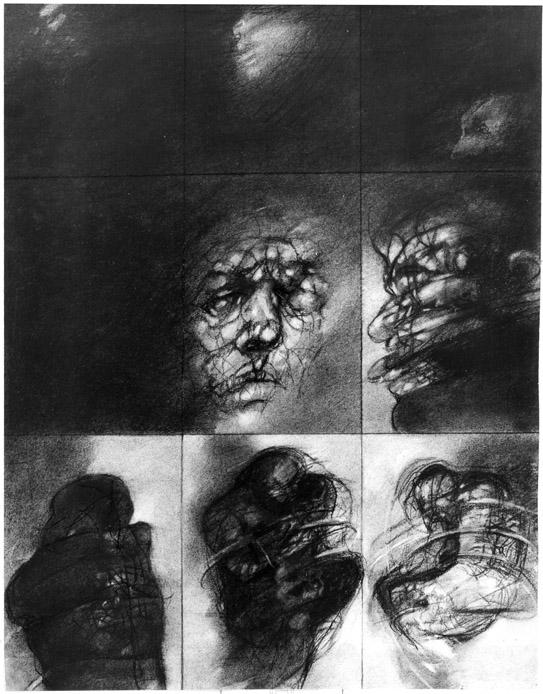 ROZHOVORY II kresba uhlem 60x80