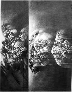 ROZHOVORY VIII kresba uhlem 60x80