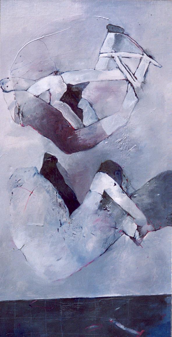 PADÁNÍ olej na plátně 60X115cm 1992