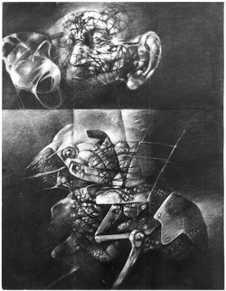 ROZHOVORY IV kresba uhlem 60x80