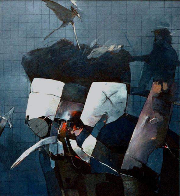 KOLIBŘÍK akryl na plátně 115X125cm 1990