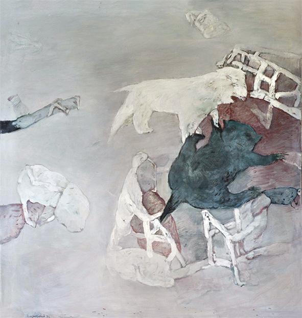 AUTENTICKÝ PŘÍBĚH olej na plátně 110x115cm 1992