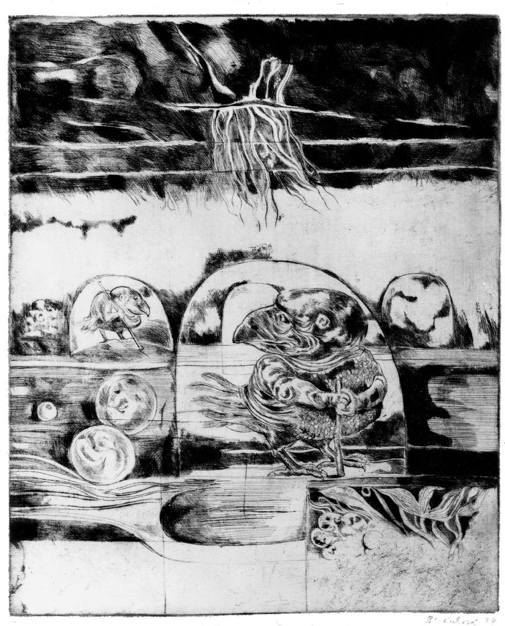 Cyklus PTÁCI II suchá jehla 1974