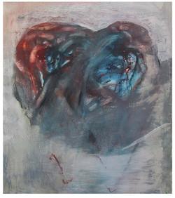 HLADOVEC kresba olej a pastel na lepence 75x65cm1998