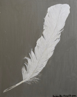 """Egret feather""(board)-8x10"""