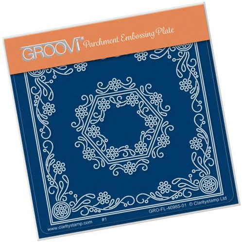 TIna's Hexagon Flower Parchlet A6 square Groovi plate
